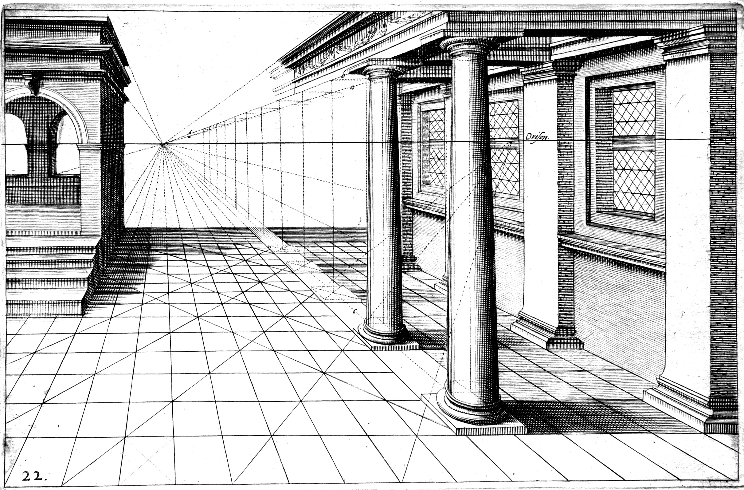 Construction d'un dessin perspectiviste à partir d'un point de fuite