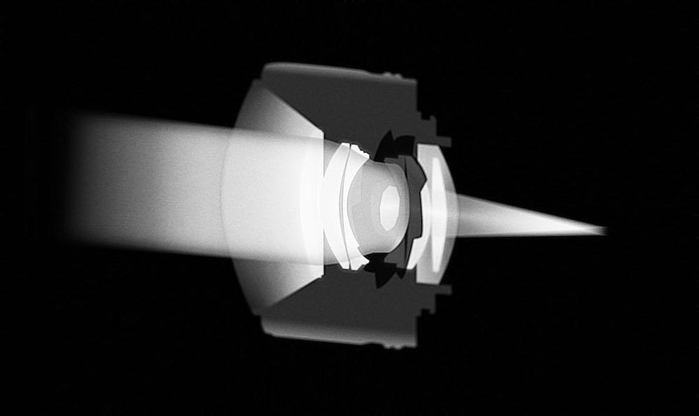 Vue en coupe du diaphrgame d'un l'objectif réduisant le flux de lumière