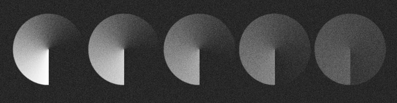 Result of the reduction of the contrast of a projected image