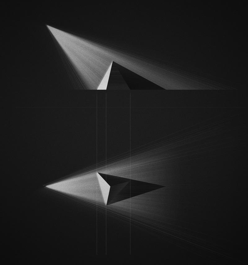 Éclairement d'une pyramide posée au sol par une source ponctuelle